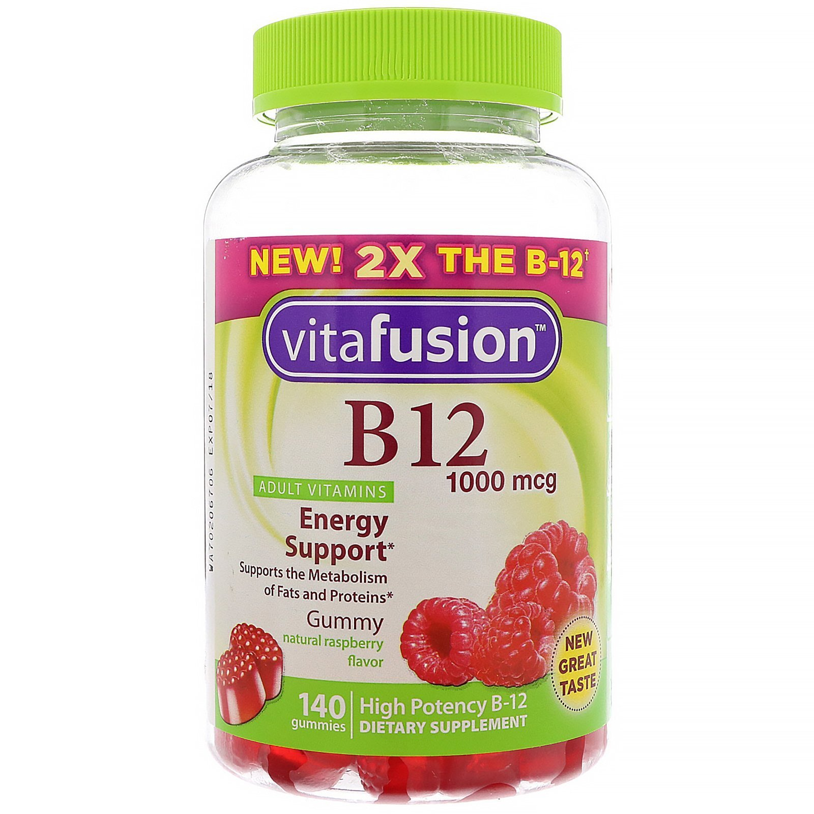 Vitamins For Energy >> Vitafusion B12 Adult Vitamins Energy Support Natural Raspberry Flavor 1000 Mcg 140 Gummies